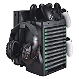 Queen.Y Multi-Function Vertical Game Storage Stand for Xbox ONE/Slim/X,Charging Dock Games Storage Tower Cooling Station with Cooling Fan