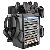 Linkstyle Vertical Storage Stand with Cooling Fan Compatible with Xbox ONE/Slim/X Console, 3Controller, 11games, 1Headset